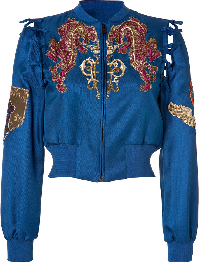 Emilio Pucci Embroidered Silk Bomber Jacket in Ocean Blue