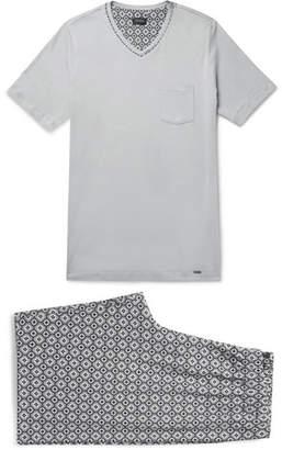 Hanro Printed Cotton-Jersey Pyjama Set