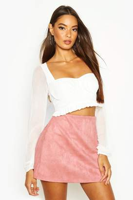 boohoo Bonded Suedette A Line Mini Skirt