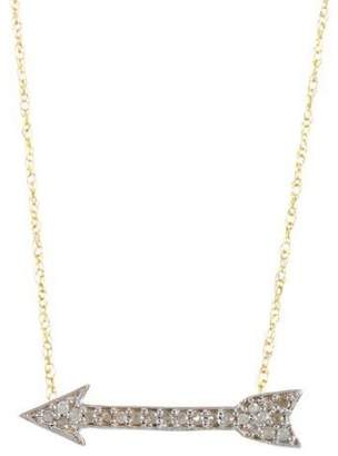 14k Gold Rose-Cut Diamond Arrow Shape Pendant Necklace with Chain
