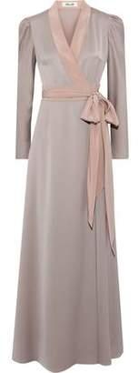 Diane von Furstenberg Satin-trimmed Crepe De Chine Maxi Wrap Dress