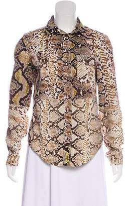 Just Cavalli Snake Print Button-Up