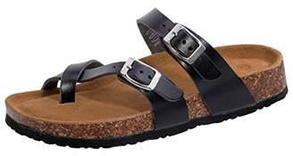 Shoeslocker Women's Open-Toe Faux-Leather Flat Cork Sandals Size US 8