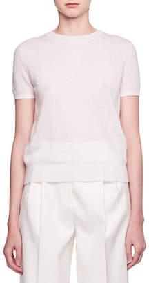 The Row Tati Crewneck Short-Sleeve Cashmere Top