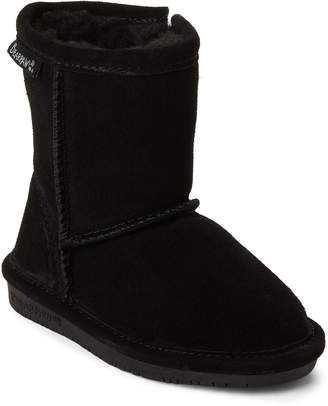 BearPaw Toddler Girls) Black Emma Real Fur Zip Boots