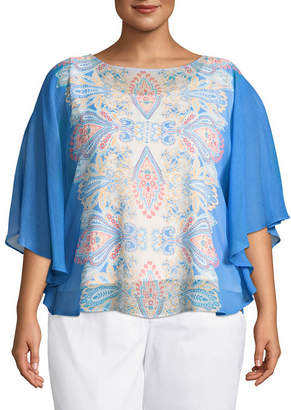 Lark Lane Je T'aime Paisley Butterfly Top- Plus