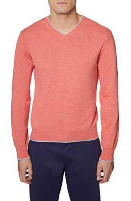 Hickey Freeman Silver Men's Long Sleeve V-Neck Sweater