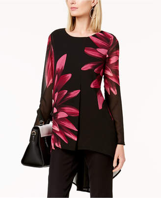 Alfani Petite Floral-Print High-Low Tunic, Created for Macy's
