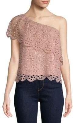 Saks Fifth Avenue Loli Embroidered Eyelet One-Shoulder Top
