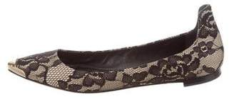 Brian Atwood Satin & Lace Ballet Flats