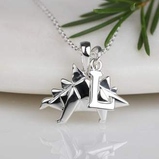 Nest Personalised Solid Silver Origami Stegosaurus Necklace
