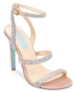 Betsey Johnson Aubrey Rhinestones Satin Stiletto Sandals