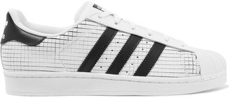 adidas Originals - Superstar Scored Leather Sneakers - White $80 thestylecure.com
