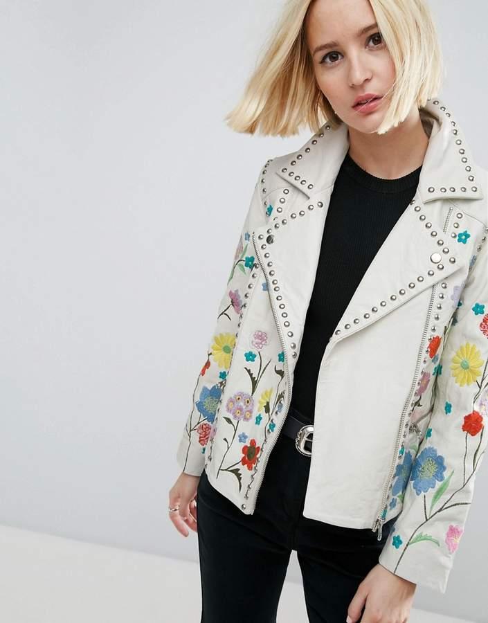 AsosASOS Floral Embroidered Leather Biker Jacket