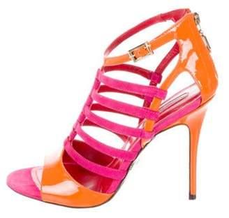 Cesare Paciotti Bicolor Caged Sandals Orange Bicolor Caged Sandals