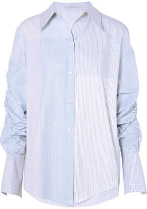 Stella McCartney Ruched Oversized Cotton-poplin Shirt - Sky blue