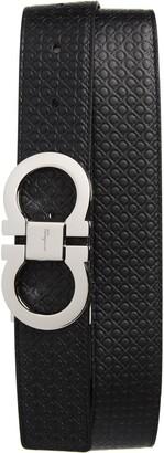 Salvatore Ferragamo Gancini Embossed Reversible Leather Belt