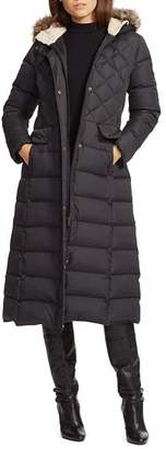 Ralph Lauren Faux Fur Trim Maxi Puffer Coat