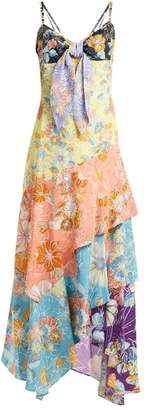 Peter Pilotto Tiered floral-print tie-front crepe slip dress