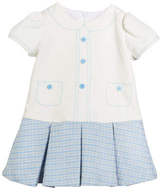 Luli & Me Drop-Waist Button Dress, Size 2-4T