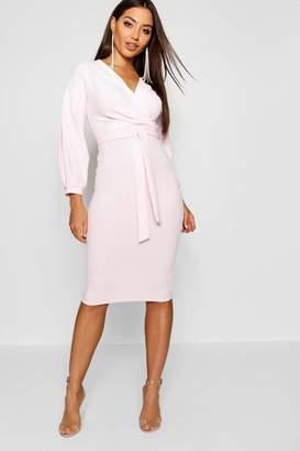 boohoo Sweetheart Tie Belt Midi Dress 30d96f9386