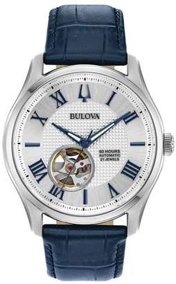 Bulova Men's Automatic Blue Leather Strap Watch
