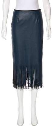 Cédric Charlier Vegan Leather Fringe Skirt