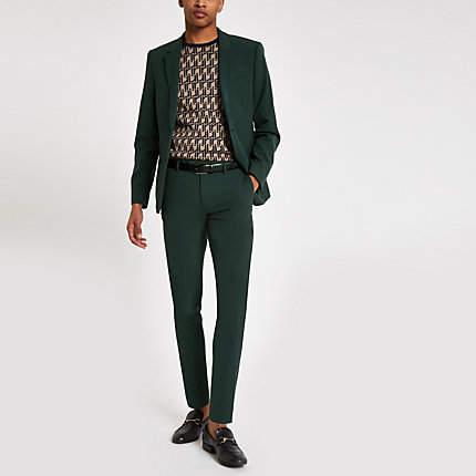 River Island Dark green super skinny suit trousers
