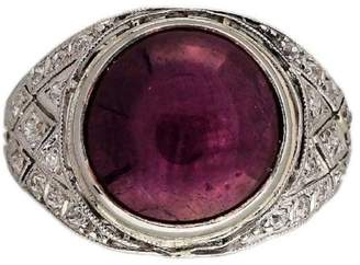 Vintage Antique Art Deco Platinum with 5.85ct Natural Star Ruby Engagement Ring Size 4.5