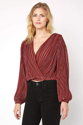 Astr Pleated Wrap Front Top