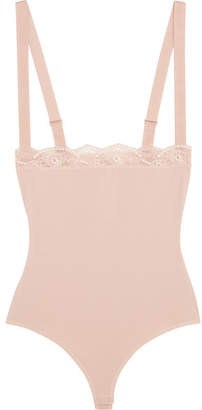 Wolford Lace-trimmed Stretch-cotton Bodysuit - Blush