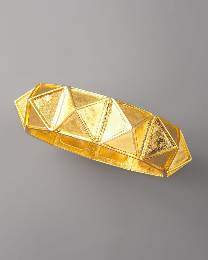Kenneth Jay Lane Golden Pyramid Stud Bracelet