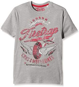 Firetrap Boy's Wing Wheels T-Shirt, (Vintage Grey Heather)