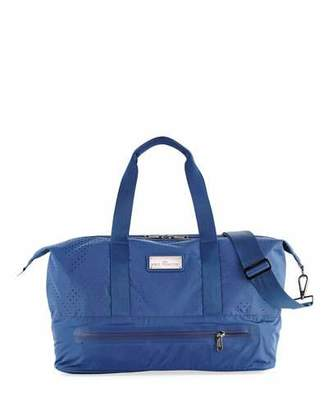 adidas by Stella McCartney Laser-Cut Mesh Modern Gym Bag, Deepest Ink/White/Gunmetal $160 thestylecure.com