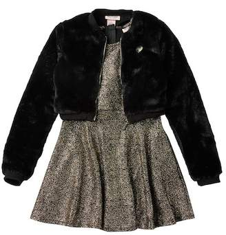Juicy Couture Metallic Dress & Faux Fur Jacket Set (Big Girls)