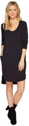 Heather Cotton French Terry Long Sleeve Scoop Dress Women's Dress