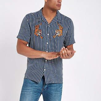River Island Blue stripe tiger embroidered shirt
