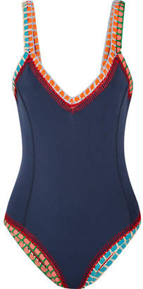Kiini Tasmin Crochet-trimmed Swimsuit - Navy
