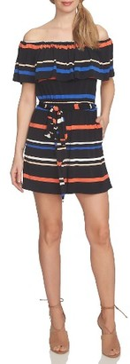 Women's Cece Off The Shoulder Stripe Romper $119 thestylecure.com