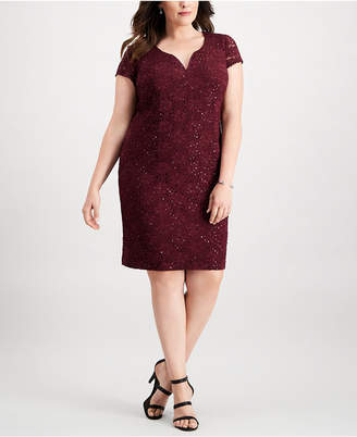Connected Plus Size Metallic Sheath Dress