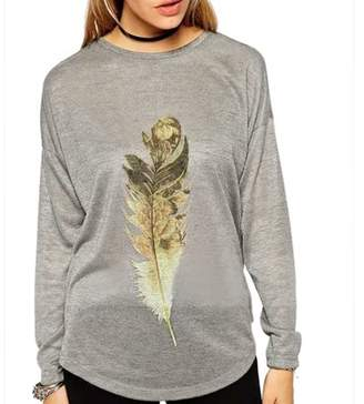 Unique Bargains Women's Feather Printed Long Sleeves Casual Shirt