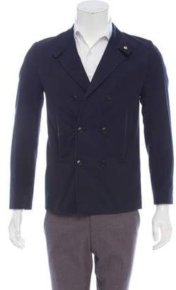 Christian Dior Leather-Trimmed Double-Breasted Blazer