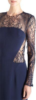 Monique Lhuillier Embroidered Lace Cocktail Sheath Dress
