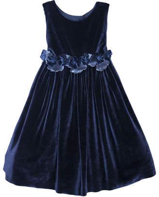 Isabel Garreton Sleeveless Velvet Holiday Dress w/ Rose Detailing, Size 4-6
