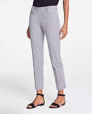 Ann Taylor The Petite Cotton Crop Pant In Seersucker