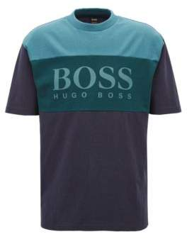 BOSS Hugo Boxy fit logo T-shirt in color-block cotton M Dark Blue