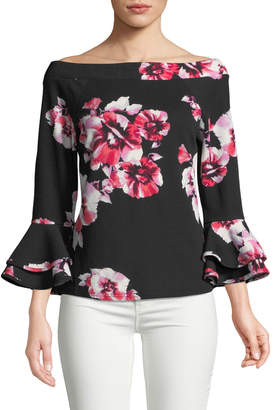 Neiman Marcus Off-the-Shoulder Double Flare Sleeve Blouse, Black/Pink