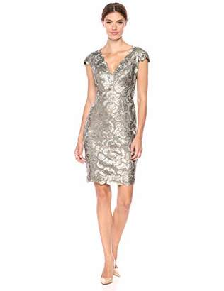 Tadashi Shoji Women's C/S LACE Metallic Dress,4