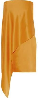 Michelle Mason Strapless Draped Silk-Charmeuse Mini Dress