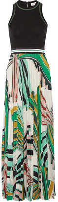 Emilio Pucci - Stretch-ponte And Pleated Printed Stretch-jersey Maxi Dress - Green $2,720 thestylecure.com